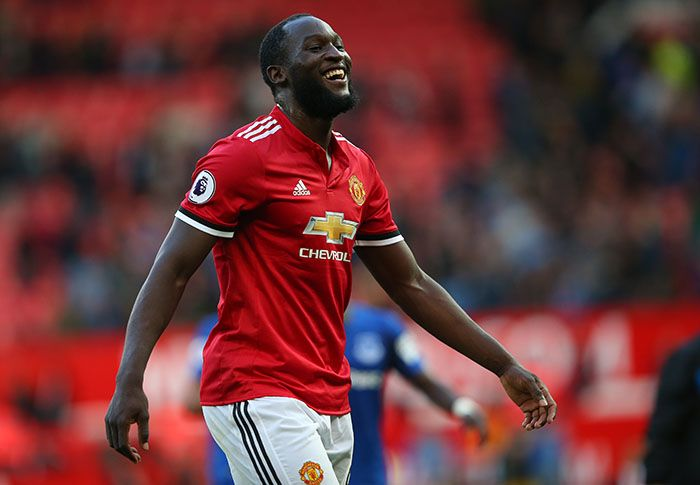 Romelu Lukaku celebrates after scoring for Manchester United