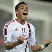 Thiago Silva celebrates after scoring for AC Milan
