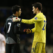 Liverpool's Luis Suarez shakes hands with Hugo Lloris