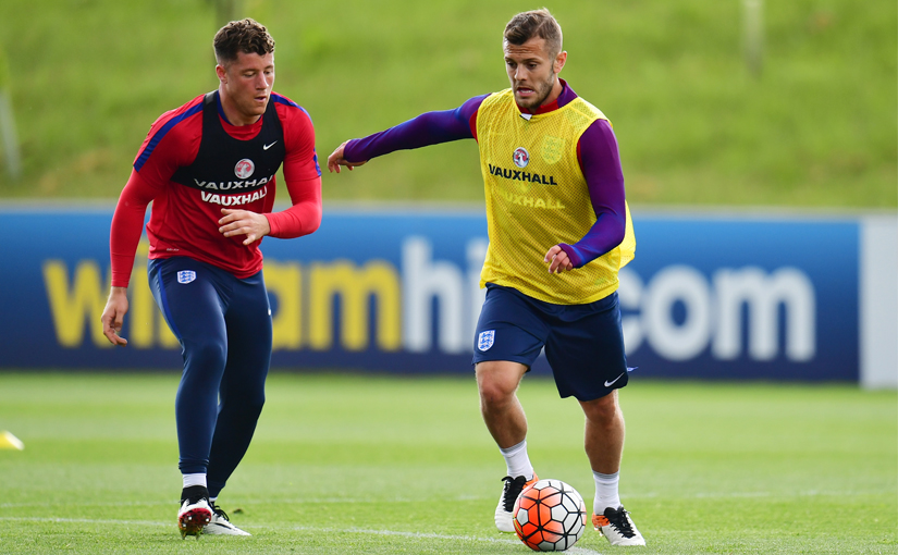 Jack Wilshere and Ross Barkley during an England training session